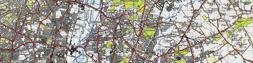 Old map of Friday Hill in 1946