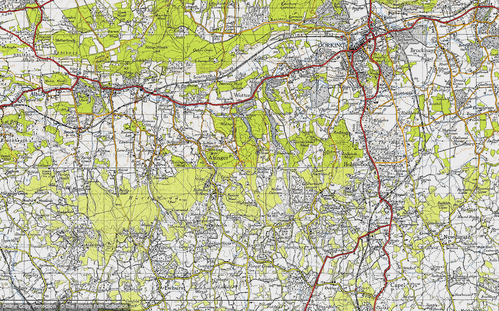 Old Map of Historic Map covering Abinger Bottom in 1940
