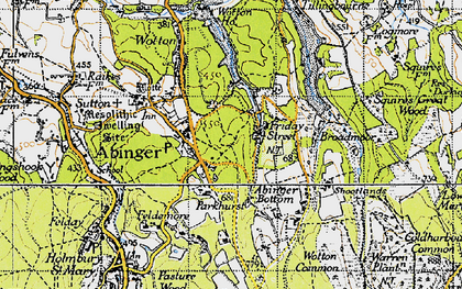 Old map of Abinger Bottom in 1940