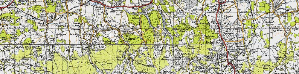 Old map of Abinger Bottom in 1940