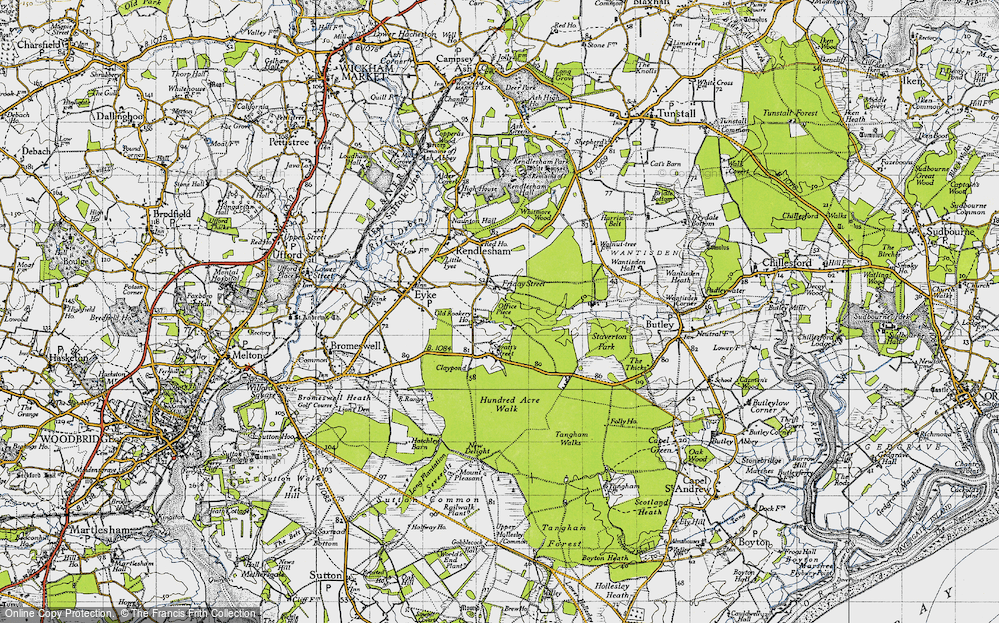 Old Map of Historic Map covering Woodbridge Airfield in 1946