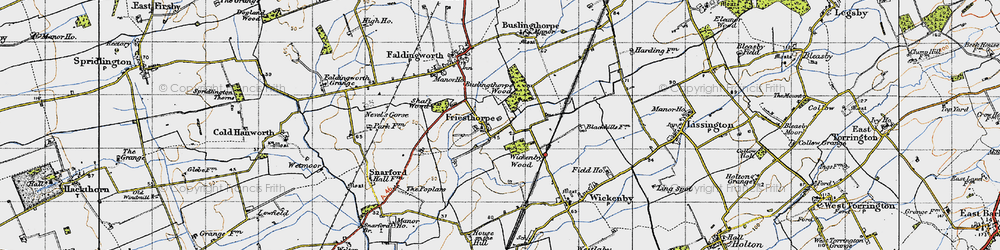 Old map of Wickenby Wood in 1947