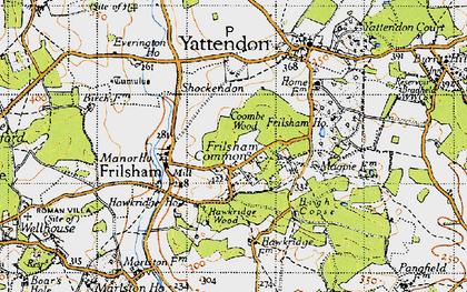 Old map of Frilsham in 1945