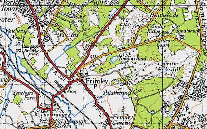 Old map of Frimley in 1940