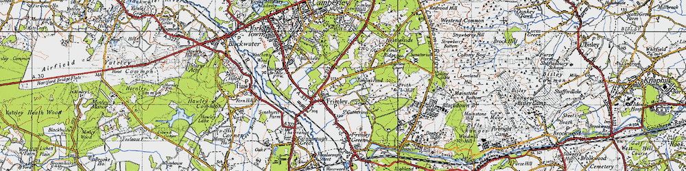 Old map of Tomlin's Pond in 1940