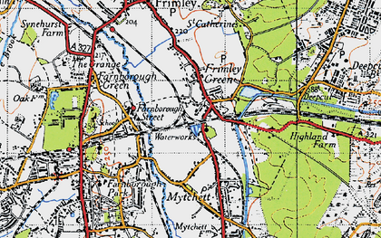 Old map of Frimley Green in 1940