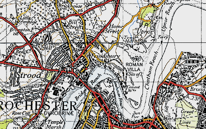 Old map of Frindsbury in 1946