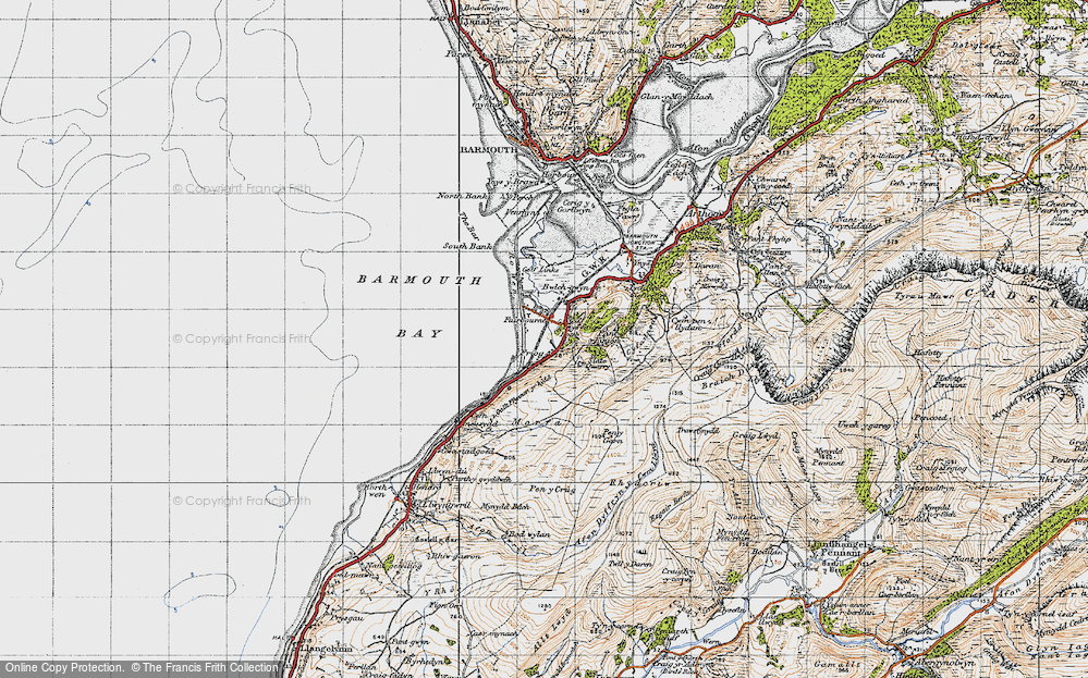 Old Map of Historic Map covering Afon Dyffryn in 1947