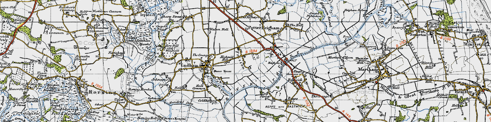 Old map of Fritton in 1945
