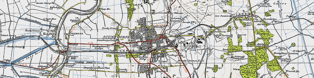 Old map of Frodingham in 1947