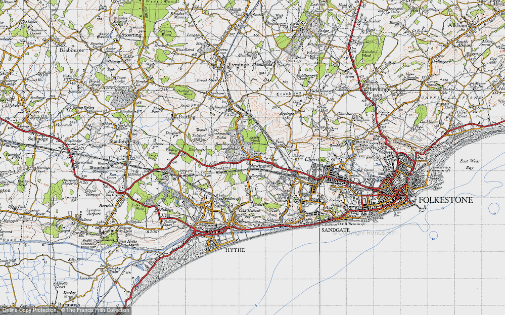 Old Map of Historic Map covering Ashley in 1947