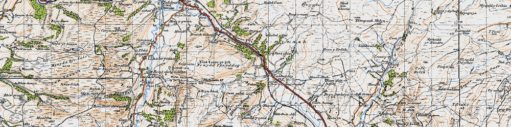 Old map of Ystrad in 1947