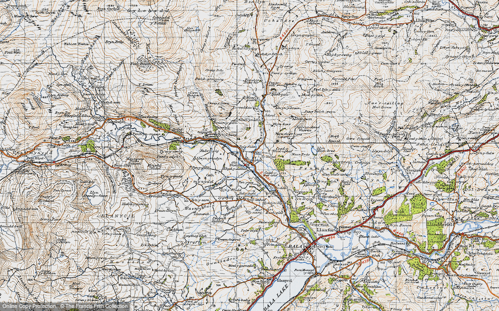 Old Map of Historic Map covering Afon Mynach in 1947