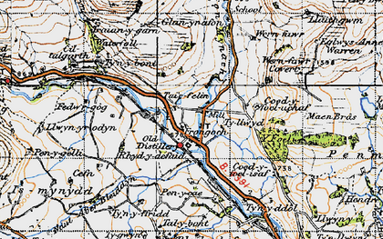 Old map of Afon Hesgyn in 1947
