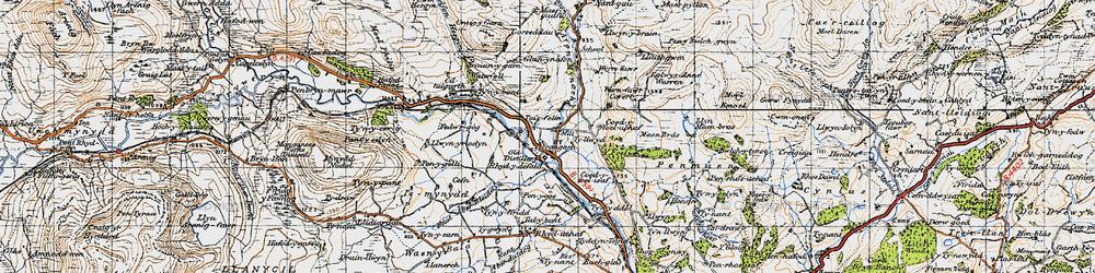 Old map of Afon Hesgyn in 1947