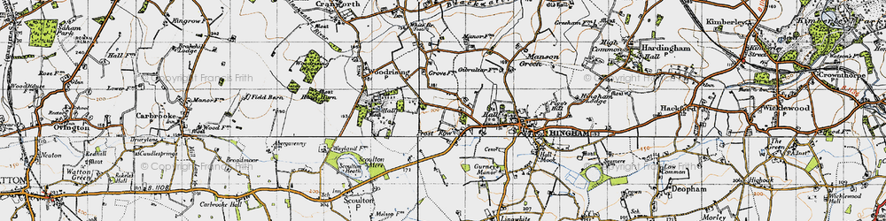 Old map of Woodrising Hall in 1946