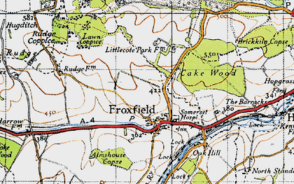 Old map of Froxfield in 1940