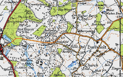 Old map of Woburn Abbey in 1946