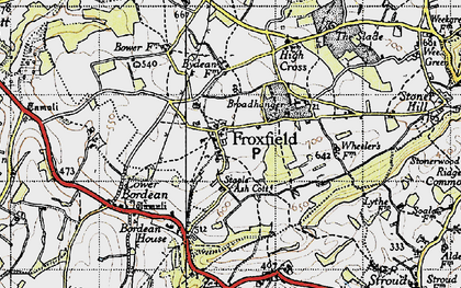 Old map of Froxfield Green in 1945