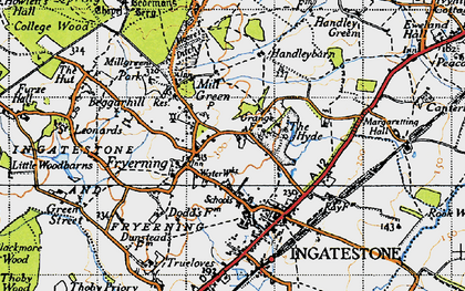 Old map of Fryerning in 1946