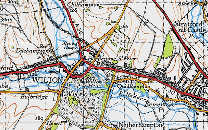 Old map of Fugglestone St Peter in 1940