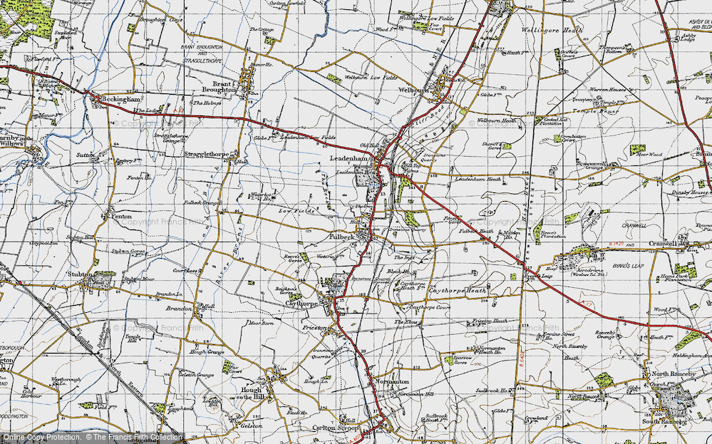 Old Map of Historic Map covering Leadenham Ho in 1946