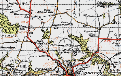 Old map of West Shield Hill in 1947