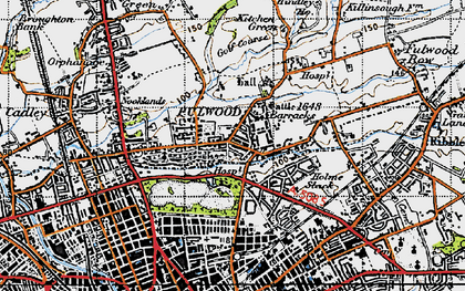 Old map of Fulwood in 1947