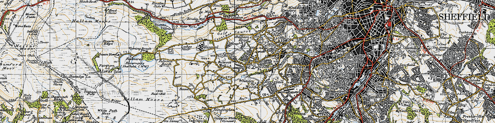 Old map of Whiteley Wood in 1947