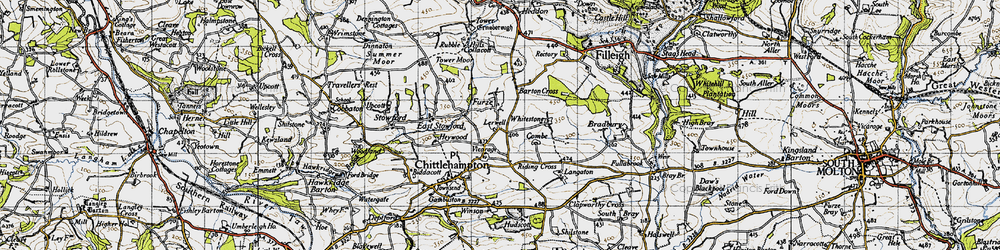 Old map of Whitstone in 1946