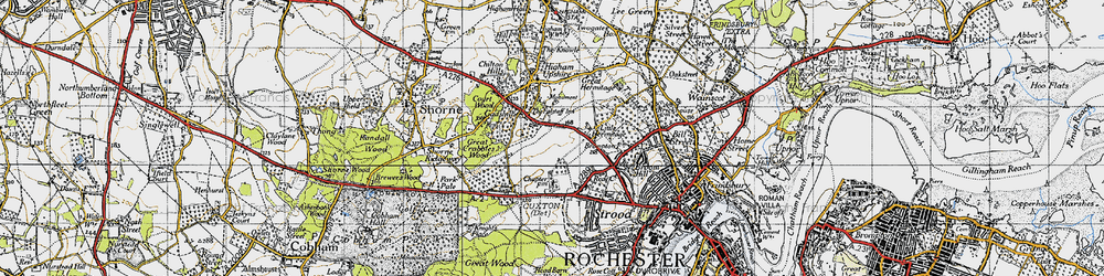 Old map of Gadshill in 1946