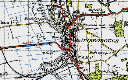Old map of Gainsborough in 1947