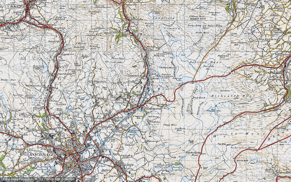 Old Map of Historic Map covering Aiggin Stone in 1947