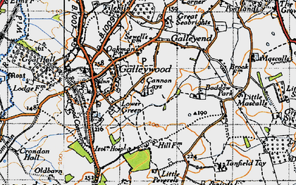 Old map of Galleywood in 1945