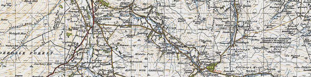 Old map of Whimsey Hill in 1947