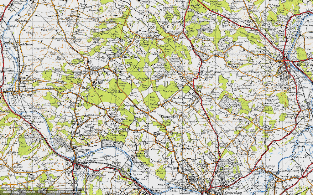 Old Map of Historic Map covering Wyfold Grange in 1947