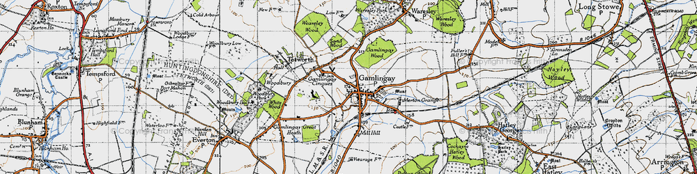 Old map of Gamlingay in 1946