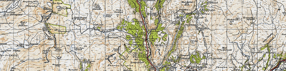 Old map of Afon Gamlan in 1947