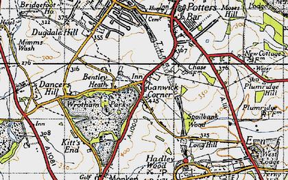 Old map of Ganwick Corner in 1946