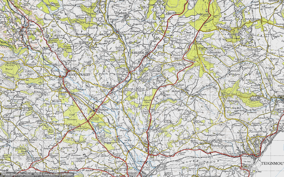 Old Map of Historic Map covering Babcombe in 1946