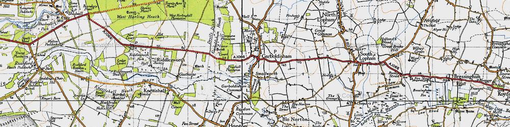 Old map of Garboldisham in 1946