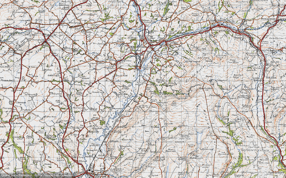 Old Map of Historic Map covering Ynys-ger-gathan in 1947