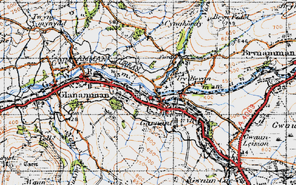 Old map of Banc Cwmhelen in 1947