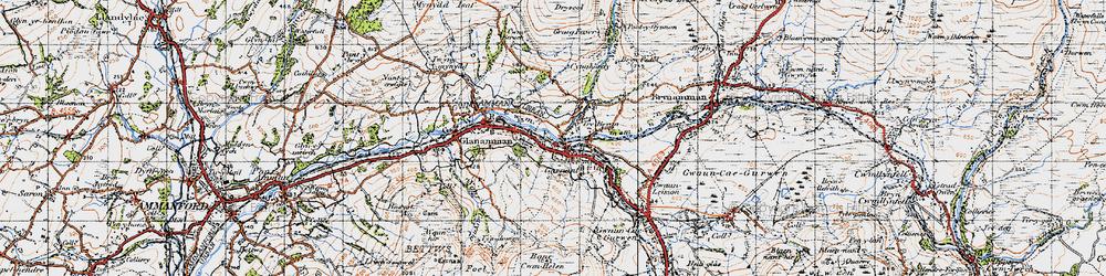 Old map of Garnant in 1947