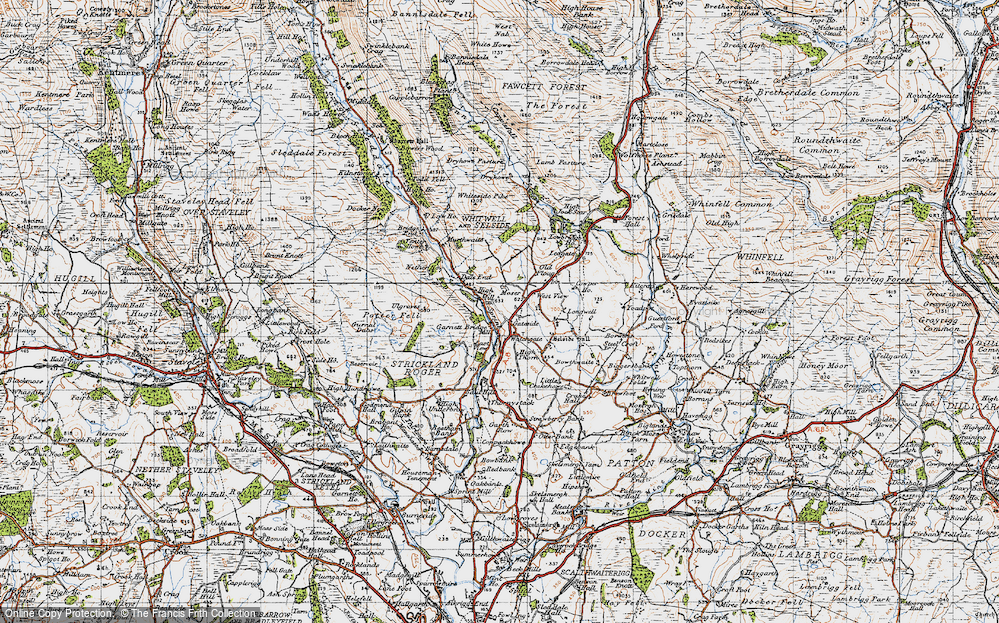 Old Map of Historic Map covering Todd Fell in 1947