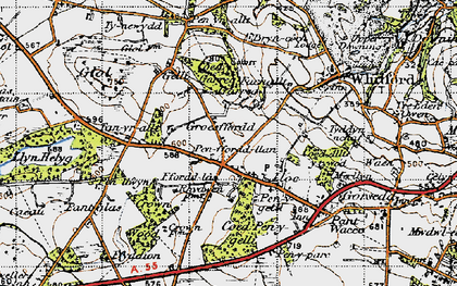 Old map of Ffordd Las in 1947