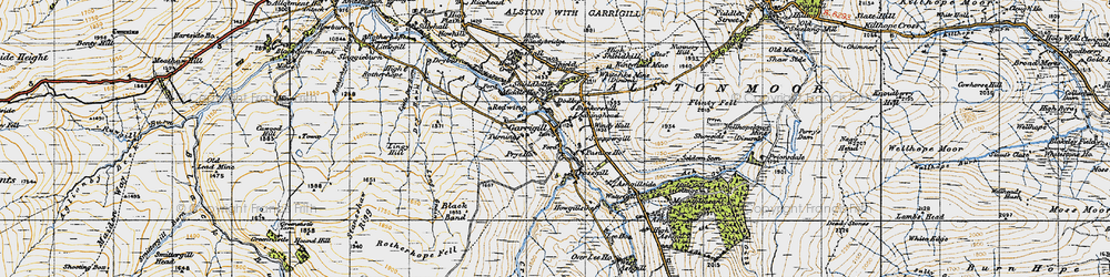 Old map of Garrigill in 1947