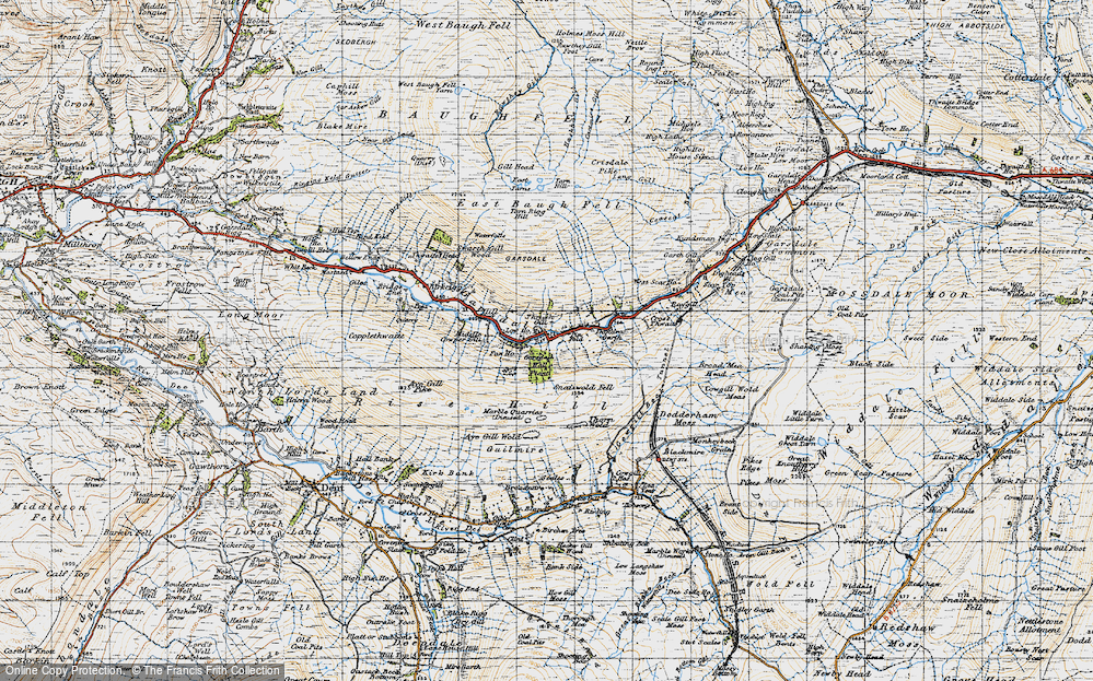 Old Map of Historic Map covering Aye Gill Pike in 1947