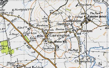 Old map of Garsington in 1947