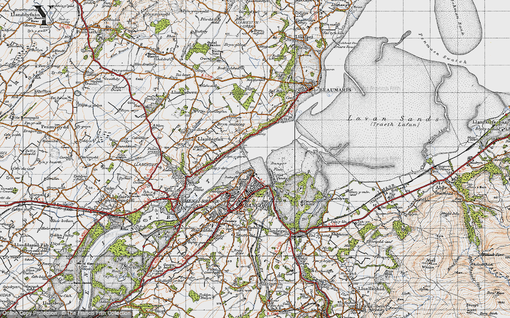 Old Map of Historic Map covering Bangor Flats in 1947